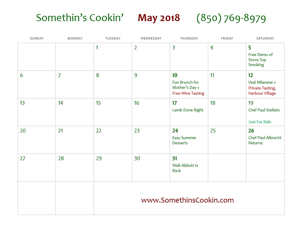 May Calendar Of Events : Calendar of events somethin s cookin panama city